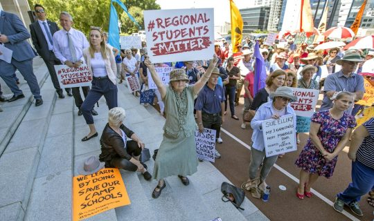 CWA Protests Cuts To Education