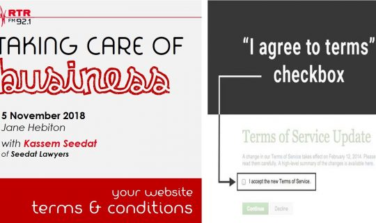 Taking Care of Business: website terms and conditions with Kassem Seedat